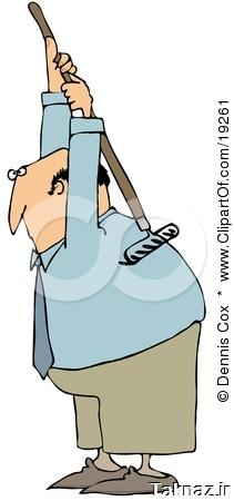 19261-Clipart-Illustration-Of-A-Bald-White-Businessman-Scratching-An-Itch-On-His-Back-With-A-Garden-Rake.jpg